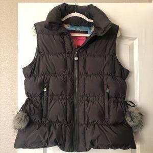 Betsey Johnson Down Puffer Vest Gray Sz XL NWOT